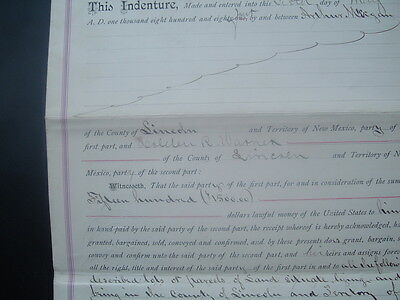 1885 Billy the Kid/Lincoln County,New Mexico Territory,$1500 for 120 Acres,Deed!