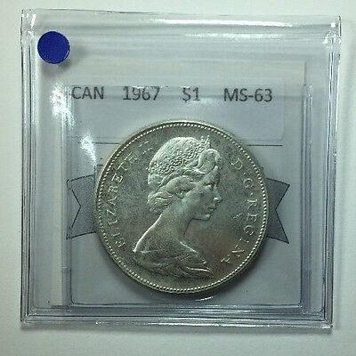 1967 Canadian One Dollar Coin Mart Graded; MS-63