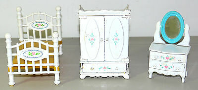 Vintage 1980 Mattel Lot Doll House Furniture Diecast Metal White With Flowers