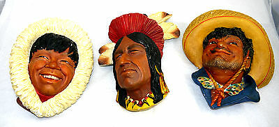 60's Bossons Chief Tecumseh + Pancho + Eskimo Character Head Chalkware Collect