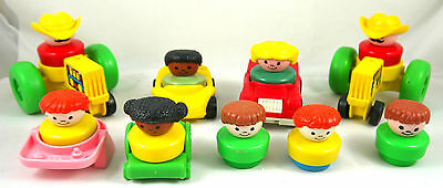 Vintage Fisher Price Little People Lot  Vehicles & Peoples Figures