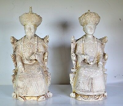 WELL DETAILED ANTIQUE CHINESE RESIN OKIMONO EMPEROR + Emperess LARGE