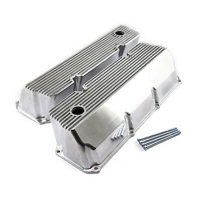 Ford 302 351C Cleveland Polished Aluminum Finned Valve Covers - Tall w/Hole