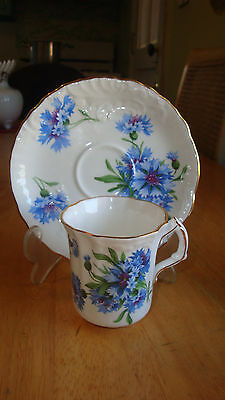 Hammersley Spode Porcelain Demitasse Cup Saucer With Blue Carnation Flowers