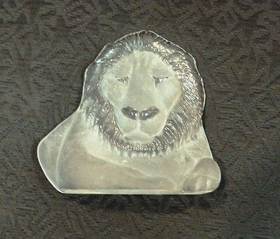 Vintage Glass PAPERWEIGHT Glass ART - MATS JONASSON Sweden # & Signed -  LION