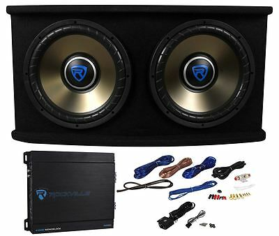 """Rockville RVSPL12.2 Dual 12"""" 1800w Car Subwoofer+Sub Box+Amp+Wires Bass Package"""