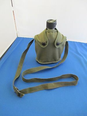 Scout Water Canteen Military Look Metal w Green Canvas Cover