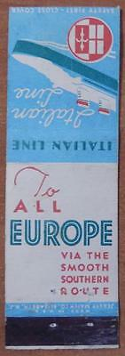 Vintage Matchbook The Italian Line All Europe Southern Route Ship Boat