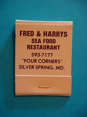 1980s Matches Matchbook ~**~ FRED & HARRYS Seafood Restaurant ~ Silver Spring MD