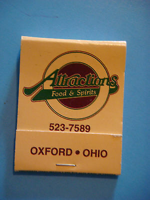 1990s Matches Matchbook ~**~ ATTRACTIONS Food & Spirits ~ Oxford, OHIO ** CLOSED