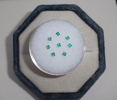 8 Colombian Emerald Square Cut Gems 1.6 to 1.8mm each