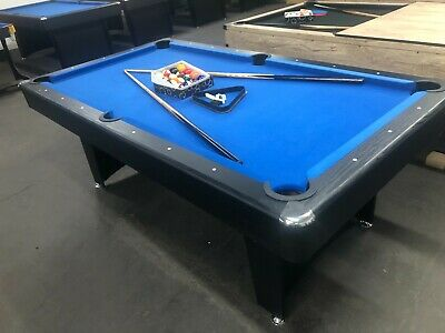 7 Foot Blue Felt Pool Table With Table Tennis And Accessories