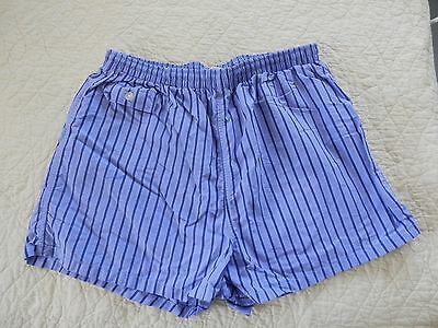 Vintage Mens 70's Blue Striped Swim Bathing Shorts Trunks L XL Nylon Panty