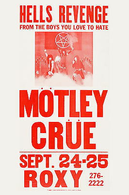 Motley Crue at the Roxy * Hell's Revenge * Los Angeles Concert Poster 1982