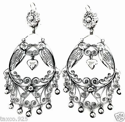 Taxco Mexican 925 Sterling Silver Frida Kahlo Style Bird Heart Earrings Mexico