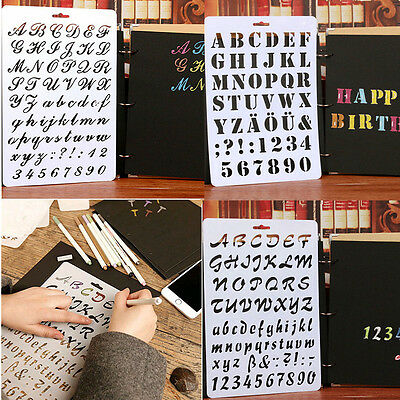 Craft Letter Alphabet Number Painting Scrapbooking Cards DIY Layering Stencils