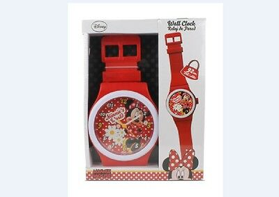 Disney Minnie Mouse Large Watch Shaped Red White Wall Clock