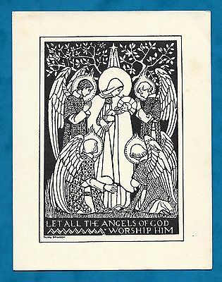 Lovely C1930's Clare Dawson Christmas Greeting Card Let All The Angels