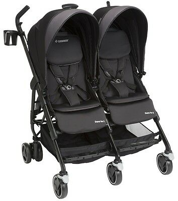 Maxi-Cosi Dana For2 Twin Baby Baby Double Stroller Devoted Black NEW 2017