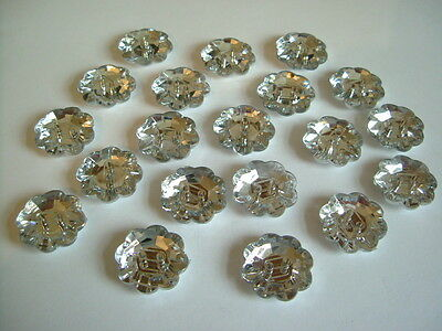 20pcs x 20mm - 2 Hole Acrylic Rhinestone Flower  Buttons