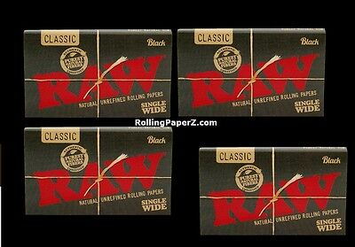 FOUR Packs RAW BLACK Double Pressed CLASSIC SINGLE WIDE ROLLING PAPERS