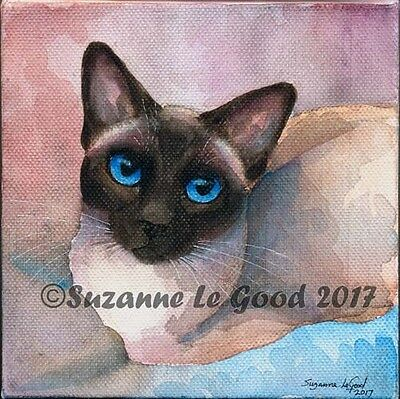 Original Old Style Siamese Cat Watercolour Painting On Canvas By Suzanne Le Good