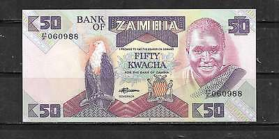 ZAMBIA #28a 1986  OLD UNC CRISP MINT 50 KWACHA BANKNOTE NOTE BILL CURRENCY MONEY