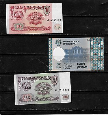 Tajikistan 3 Diff Unused   Banknote Bill Paper Money Note Lot Set Collection