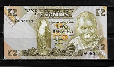ZAMBIA #24c 1988 UNused OLD 2 KWACHA BANKNOTE BILL NOTE CURRENCY PAPER MONEY