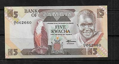 ZAMBIA #25d 1988 UNC OLD MINT 5 KWACHA BANKNOTE BILL NOTE CURRENCY PAPER MONEY