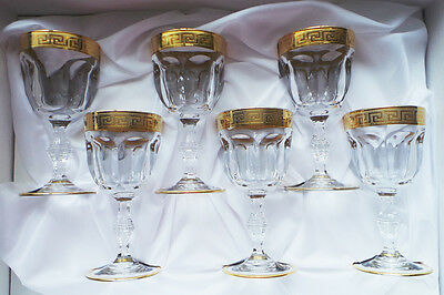 Cristalleria Fratelli Fumo Crystal Water Wine Glasses, Gold Rimmed, Set of 6