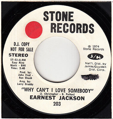 "70s Soul EARNEST JACKSON why can't I love / funky U.S. Demo Promo DJ Copy 7"" 45"