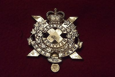 Canadian Queens Crown Cap Badge To The Canadian Scottish Regiment Marker Marked