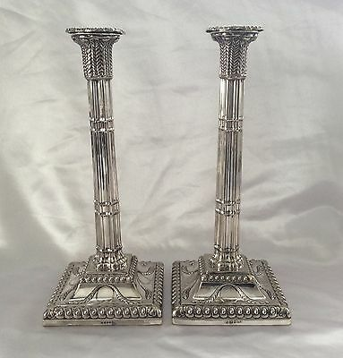 Fine Pair Of Silver Plated Corinthian Column Candlesticks Mappin Brothers C.1850