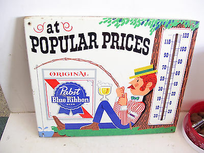 Vintage Pabst Blue Ribbon Beer Fisherman Metal Sign Thermometer