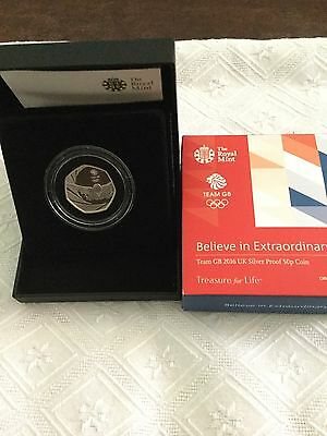 Royal Mint Silver Proof 50p Coin 2016 Olympics Mint In Box