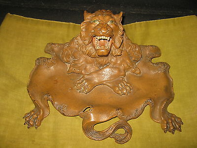 Vintage 19th Century Victorian Iron LION HEAD & SKIN Desk Inkwell