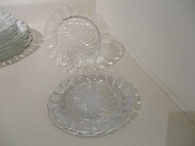 4 Canadian Depression Glass CANADIAN SWIRL Dessert/Bread Plates Dominion Glass