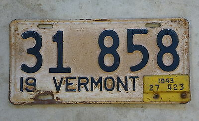 1942 Vermont License Plate With 1943 Tab