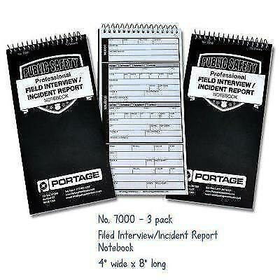 Police Field Interview Notebook, Pack of 3 New