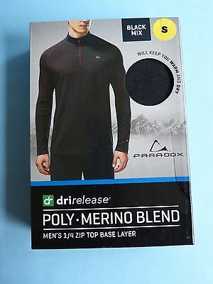 Paradox Drirelease Mens 1/4 Zip Top Poly Merino Base Layer - Small Black  - New