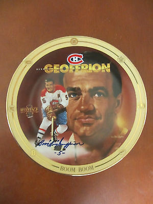 "Vintage Heritage Legends of Hockey Boom Boom Geoffrion Autographed 8"" Plate"