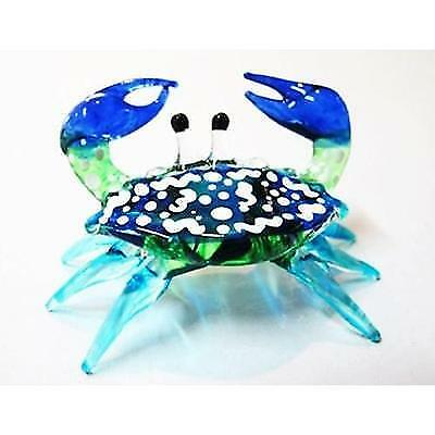 Handcrafted MINIATURE HAND BLOWN GLASS Small Blue Crab FIGURINE Collection by
