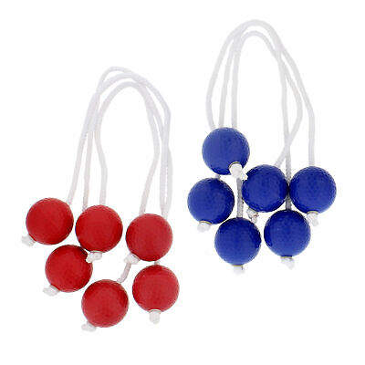 Ladder Toss Replacement Bola Strands – 3 Blue 3 Red Ball (6 Bolas)