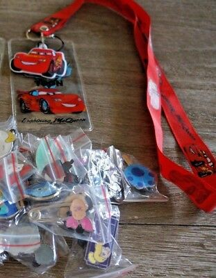 Disney World Pin Trading Lot Lanyard Starter Set Cars Lightning McQueen w/ 4 pin