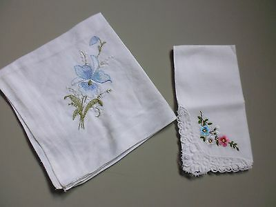 Two Women's Handkerchieves, with Embroidery