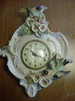 Vintage Cordey Porcelain Wall Clock, w/ Birds and Flowers #909