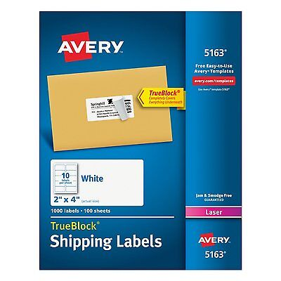 """Avery  5163 """"Easy Peel"""" Labels  2 x 4 inches, 10-Up, White, Box of 1000 (5163)"""