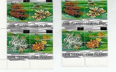 COOK ISLANDS TWO MINT BLOCKS OF FOUR 36c FLOWERS  REF 572