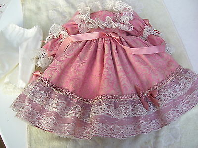 Alte Puppenkleidung Pink Fancy Dress Outfit vintage Doll clothes 50 cm Girl